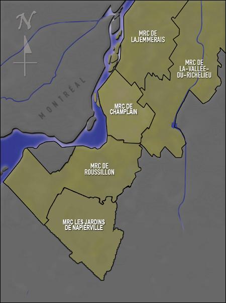 carte montrant le territoire du GAPHRSM (avec les MRC)