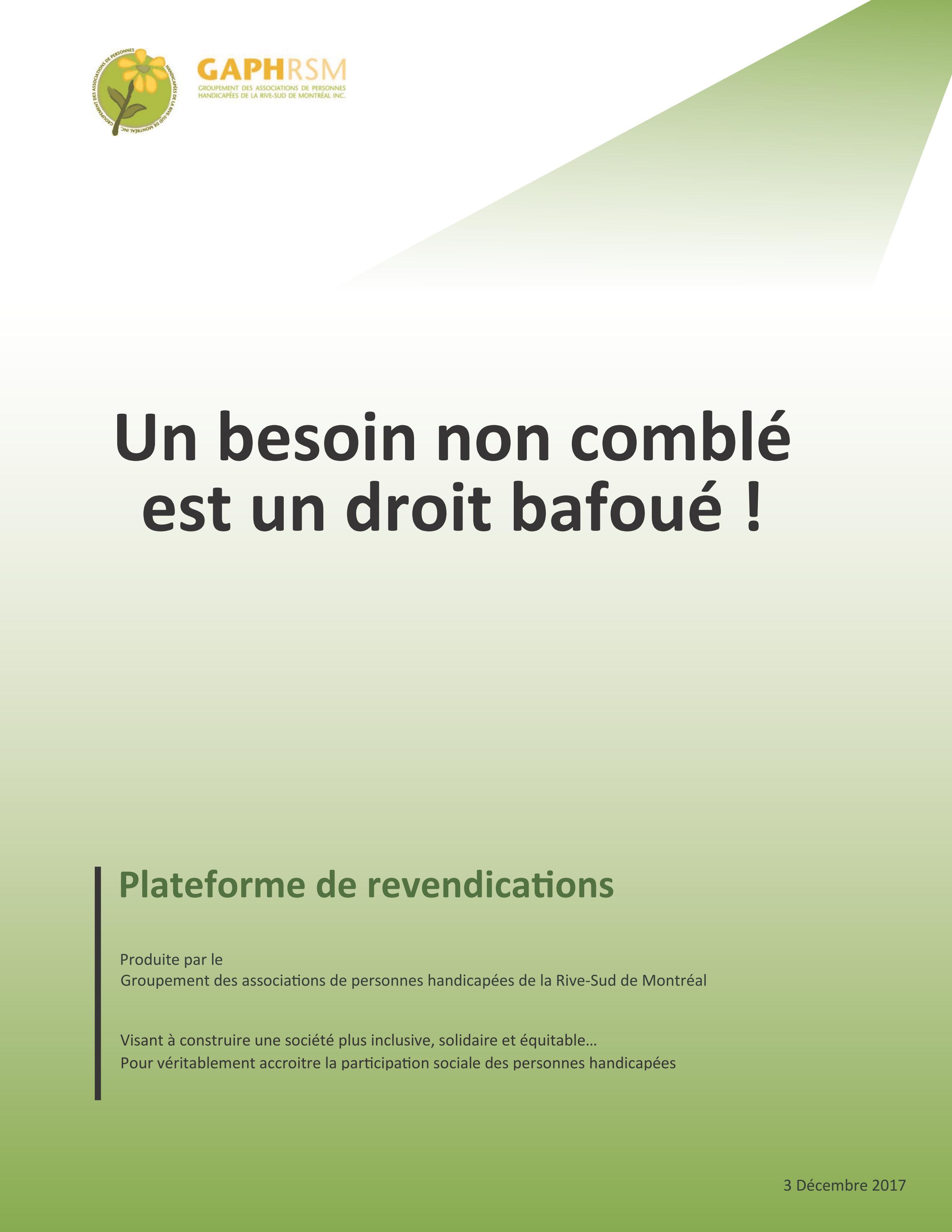 UN BESOIN NON COMBLÉ EST UN DROIT BAFOUÉ ! PLATEFORME DE REVENDICATIONS
