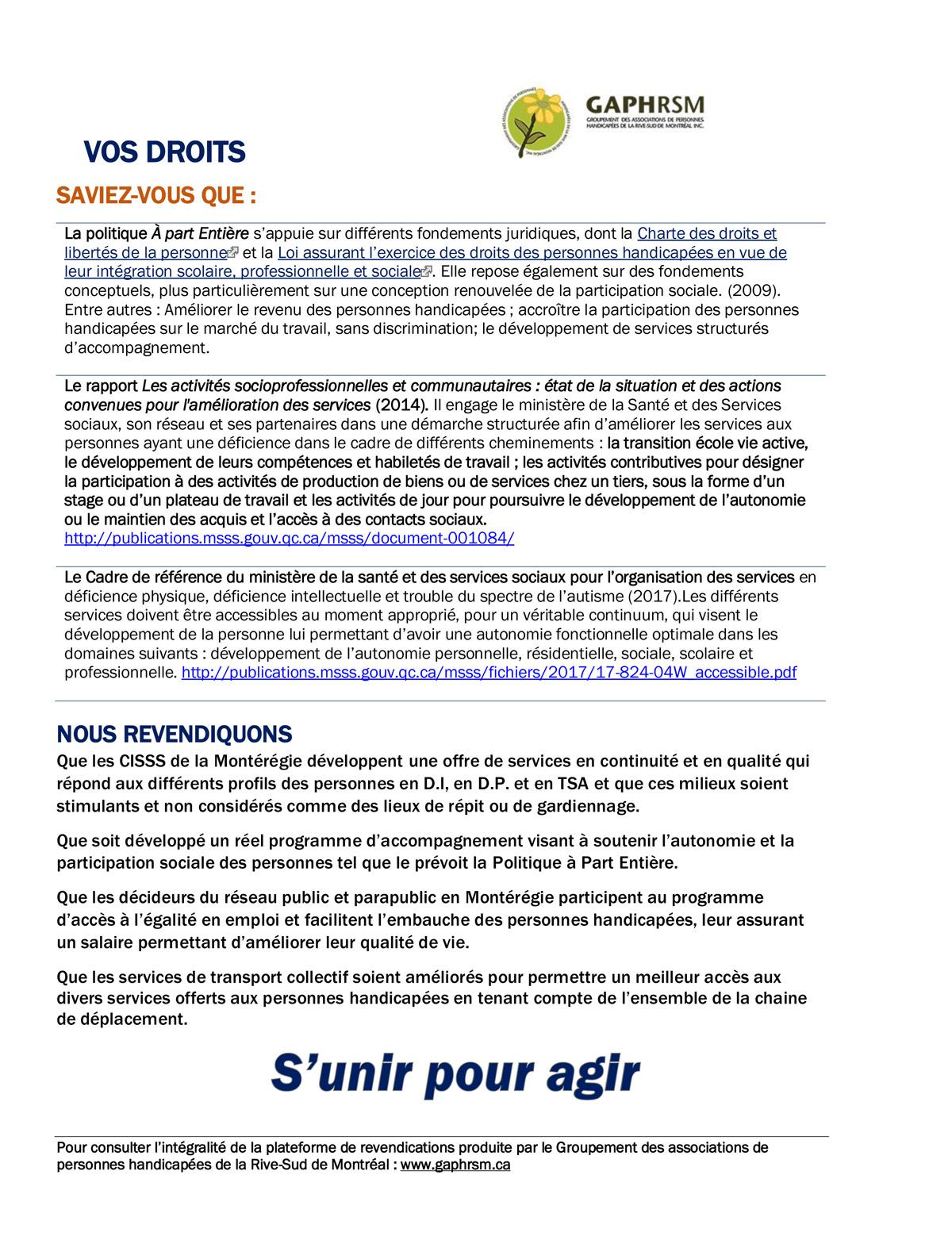 SYNTHÈSE SUR LES ACTIVITÉS SOCIALES ET PROFESSIONNELLES Ce que nous révèle la Plateforme de revendications « Un besoin non comblé est un droit bafoué ! » Page 2